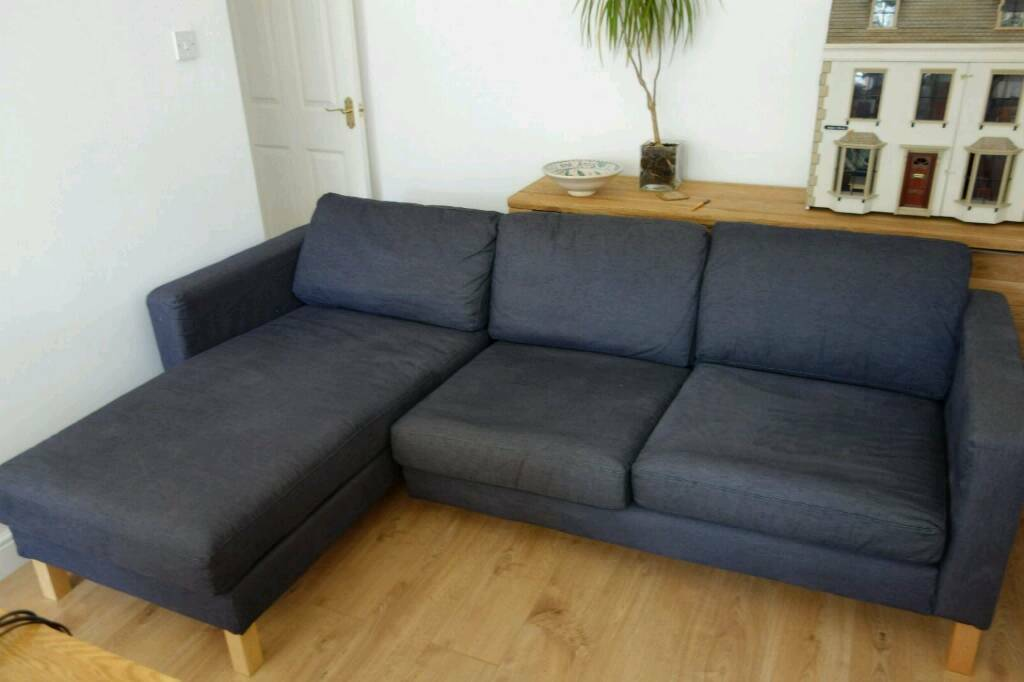 dark blue navy ikea karlstad modular 3 seater sofa with chaise lounge in worsley manchester. Black Bedroom Furniture Sets. Home Design Ideas