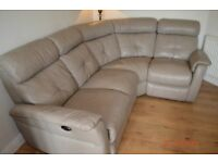 DFS GREY RECLINING CORNER SOFA - RECLINING ARMCHAIR AND FOOTSTOOL -NEARLY NEW- CHEAP DELIVERY - £895