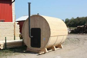Amish Made Traditional White Cedar Barrel Sauna - Free Shipping