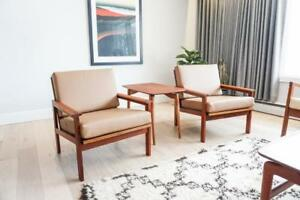 *Pair* of Leather & Teak Danish Easy Chairs by Illum Wikkelso for N. Eilersen