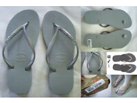 HAVIANIAS Beach Sandals Holiday Brazilian Silver Grey Flipflops 36 6 NEW BOXED