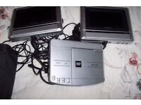 TELEVISON SCREENS AND DVD PLAYER - TWINPORTABLE T.V'S AND DVD FOR CAR OR MOTORHOME