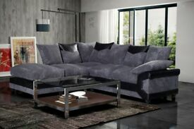 🌷💚🌷POPULAR CHOICE 🌷💚🌷INO JUMBO CORD CORNER OR 3 AND 2 SEATER SOFA--BLACK/GREY OR BROWN