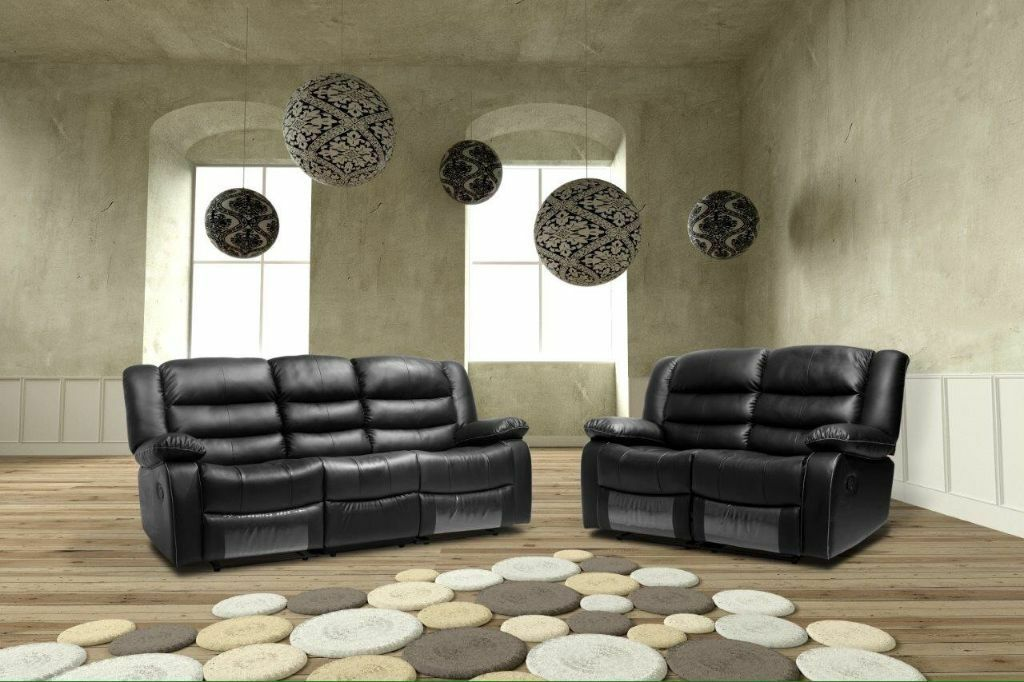 Romas Black New Leather Recliner Sofas