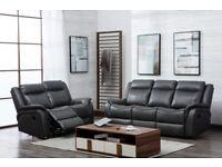 Grey leather 3+2 seater manual reclining sofa
