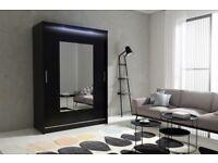 BARGAIN! black Wardrobe kola 6-150 with sliding doors mirror