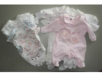 Bundle for Newborn baby girl (bodysuits + sleep suits) WHITE