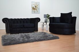 Chesterfield Velvet Sofa **Home Delivery Available**