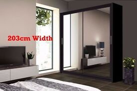 120cm/180cm/203cm Wide -- 3 Different Sizes -- 2 Door Sliding Mirror Wardrobe -- Brand New