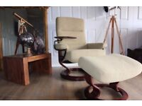 EKORNES STRESSLESS designer pale green fabric recliner armchair & footstool
