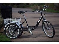 Folding adult trike 6sp tricycle black (bicycle) bike