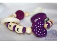 Personalised Wooden Dummy Clip / Chain / Strap / Holder - Lilly Design
