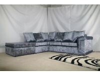 DINO VALVET CORNER SOFA + FOOTSTOOL OR 3+2 SEATER SOFA | SWIVEL CHAIR | UK EXPRESS DELIVERY