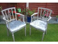 A Stunning Pair of Carver Chairs Newly Upholstered Glitzy Silver Crushed Velvet Fabric