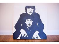 Beatles canvas signed by artist