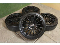 "Genuine Finichi Milano 17"" Alloy wheels & Tyres 5x114.3 JDM Mr2 Civic Type R S2000 Mazda 3 Fto"