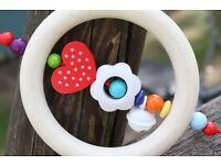 Wooden Natural Baby Rattle ,perfect gift for baby shower, baptism and birth.