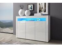 Sideboard. Chest of Drawers Cabinet High Gloss LED Lights Display Storage