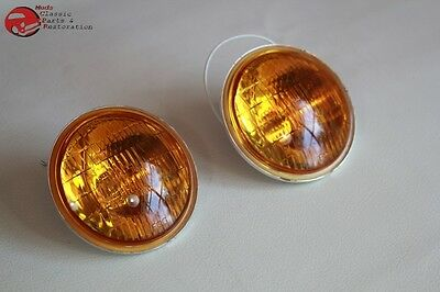 Amber Lens Fog Lamp Light Replacement Bulbs Vintage Style 12 Volt Hot Rod Truck, used for sale  Shipping to Canada