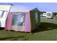 """CARAVAN AWNING - red and cream (8.12m """"A measurement)"""