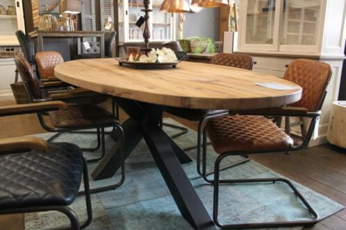 Ronde of ovale tafel landelijke ronde eettafels tafels for Landelijke eettafel