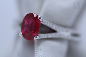 New Platinum 1.20ct Natural Burmese Ruby and Diamond Ring - GCS certificate