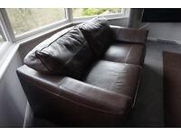 Luxury dark brown leather two seater sofa x 2