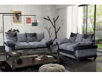 SAME DAY DELIVERY --- DINO JUMBO CORD CORNER OR 3 AND 2 SEATER SOFA--BLACK/GREY OR BROWN