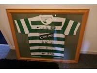 Framed genuine celtic signed shirt