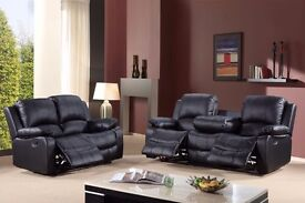 Venice 3+2 Recliner Sofa with Cupholder Bonded Leather black or brown BRAND NEW 12 MONTH WARRANTY