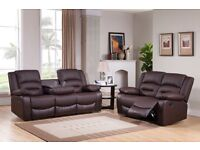 ***MIAMI BROWN BRAND NEW LEATHER RECLINER FREE DELIVERY SOFAS***