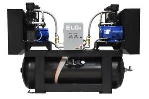 ELGi Lubricated 100% Duty Cycle Industrial Duplex 15HP Piston Compressor - $167.56/month for 60 months w/no collateral