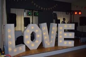 Giant Wedding Light up Letters Love