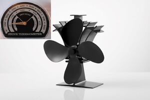 4 Blade Heat Powered Stove 234 Fan & FREE Thermometer Wood & Coal Fire Burners