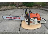 """Stihl 034 chainsaw, 56.5cc,ported, 175psi compression, new 20"""" bar, see video."""