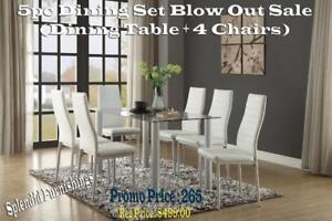 Weekend Sale!!  Sophisticated & Elegant 5 Pc Glass Dining Set Blow Out Sale at Splendid Furnishings