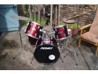 Peavey 5 Piece Drum Kit w/ Hihat, Crash & Zildjian Planet Z Ride (Complete kit) red