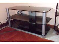 Large black Glass TV stand unit
