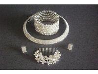 Crystal Choker Necklace Bracelet Hair Comb & Earrings Parties Wedding