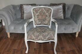 French ViNTAGE Louis TAPESTRY Boudoir Dressing Table CHAIR,Ivory,Shabby Chic