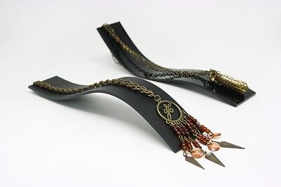 6 Pc Matt Black Acrylic Bangle Bracelet Necklace Jewellery Charms Display Stand