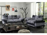 AVAIL MASSIVE DISCOUNT -- NEW DINO JUMBO CORD CORNER OR 3 AND 2 SEATER SOFA--BLACK/GREY OR BROW