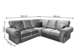 Furniture That Fits-VERONA CHESTERFIELD GREY PLUSH FABRIC CORNER SOFA SUITE OR 3+2 SETTEE ON SALE