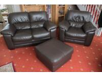 Two seater murano leather plus chair and foot stool