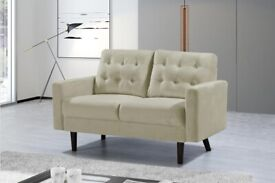 🌈Furniture On Sale🌈MAZZ 2 Seater And 3 Seater Sofa Plush Velvet In Grey and Cream Color Available