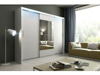 BARGAIN! white Wardrobe kola 1-250 with sliding doors mirror shelves rails