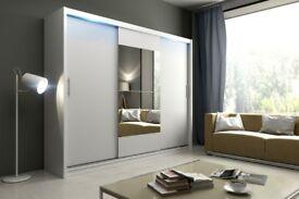 🚚🚛 120 150 180 203 cm 🚚🚛 Sliding 2 Door Luxury Wardrobe In Black White - SAME DAY DELIVERY!