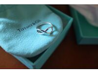 Tiffany infinity ring in sterling silver size J rrp £170