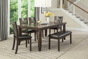 BRAND NEW!!! SOLID WOOD DINNING TABLE, 4 CHAIRS, 1 BIG BENCH AND EXTENDABLE  LEAF FOR 799$