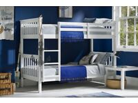 BRAND NEW, SOLID, QUALITY, STRONG, FRAME, SNOW WHITE, WOODEN, BUNK BED, PADDED MATTRESS